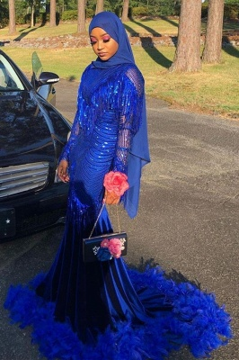 Royal Blue Sequined Mermaid Evening Gown Sweep Train_2