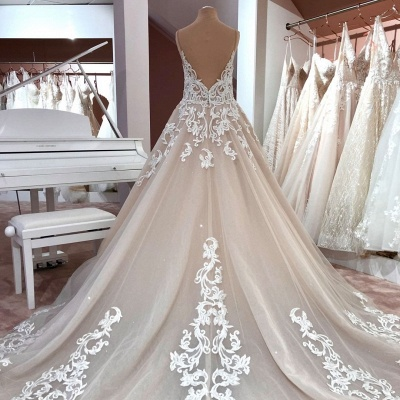 Cheap Lace Tulle Floor Length Wedding Gowns Backless_3