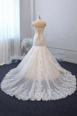 Cheap White Lace Wedding Gowns Sleeveless Mermaid Bridal Wear_2