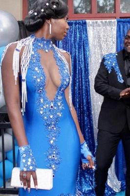 Satin Halter V-Neck Mermaid Evening Gowns Sleeveless Crystals Prom Dress Sweep Train_3