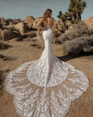 Sexy Floor Length Sweetheart White Lace Mermaid Wedding Gowns_2