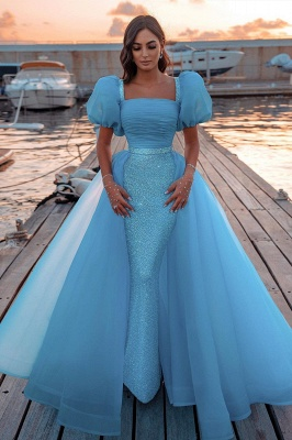 Sky Blue Princess Mermaid Evening Gowns with Sweep Train Short Sleeve Party Gowns