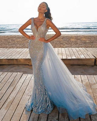 Elegant V-Neck Slim Prom Party Gowns with Detachable Train Mermaid Evening Dress_1