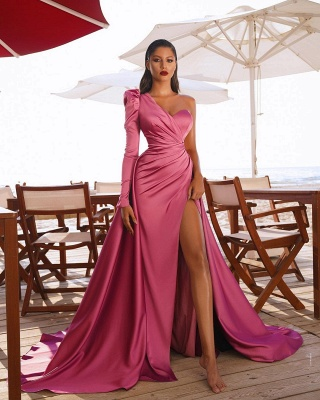 One Shoulder Satin Side Split Evening Maxi Gowns with Sweep Train_4