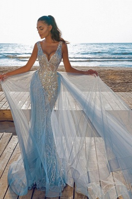 Elegant V-Neck Slim Prom Party Gowns with Detachable Train Mermaid Evening Dress_4