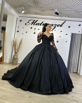 Cheap Black Lace Prom Dresses Ball Gowns Satin Evening Gowns_4