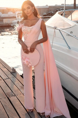 Sweetheart Sheath Evening Dress Sleeveless Slim Jumpsuit Beaded Feather Floor Length Party Gowns with Cape_2