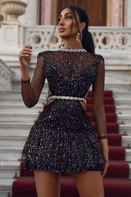 Sparkly Sequins Mini Dress Cocktail Party Dress Long Sleeve Homecoming Dress_2