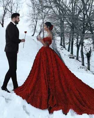 Off the Shoulder 3D Floral Printed Ball Gown for Girl Evening Maxi Gowns_7