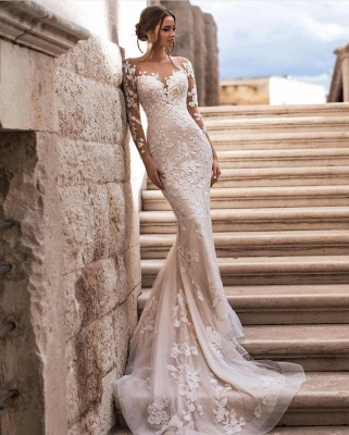 Cheap Sexy Lace Wedding Dresses Long Sleeves Online_2