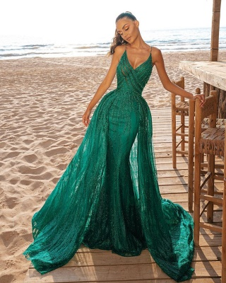 Mermaid Prom Party Dress V-Neck Sequined Evening Gowns Sweep/Trumpet Train_2