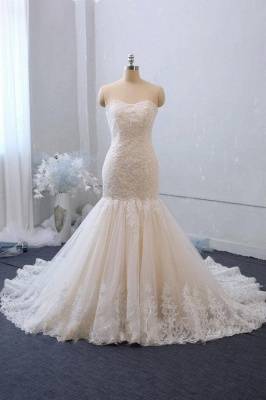 Cheap White Lace Wedding Gowns Sleeveless Mermaid Bridal Wear_1