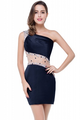 Sexy Mini Sheath Homecoming Dresses One Shoulder Beaded Cocktail Dresses_4