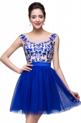 2021 Royal Blue Homecoming Dresses Bateau Neck Open Back Short Party Dresses_4