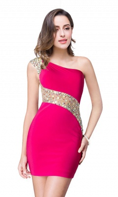 Sexy Mini Sheath Homecoming Dresses One Shoulder Beaded Cocktail Dresses_2