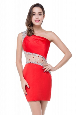 Sexy Mini Sheath Homecoming Dresses One Shoulder Beaded Cocktail Dresses_3
