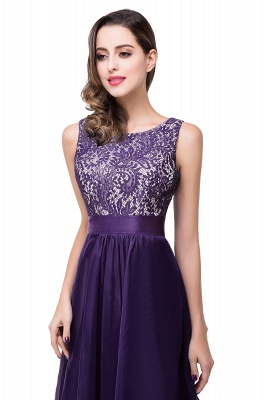 Sleeveless Appliques Lace Elegant Chiffon Long Evening Dress_2