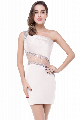 Sexy Mini Sheath Homecoming Dresses One Shoulder Beaded Cocktail Dresses_1