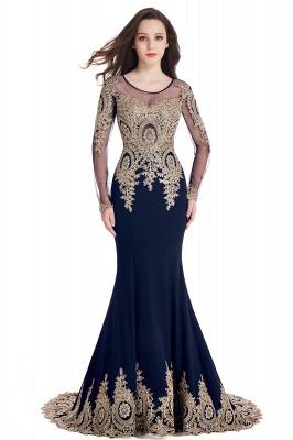 Elegant Lace Appliques Mermaid Prom Dresses | Sheer Neck Long Sleeves Evening Dresses BM0113_6