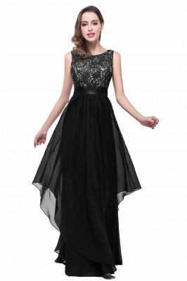 Sleeveless Appliques Lace Elegant Chiffon Long Evening Dress_4