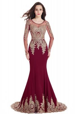 Elegant Lace Appliques Mermaid Prom Dresses | Sheer Neck Long Sleeves Evening Dresses BM0113_2