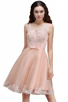 Lace Bowknot Sleeveless Short Elegant Tulle Homecoming Dress_1