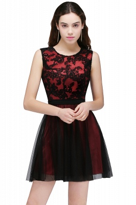 Chic Short A-Line Homecoming Dresses | Scoop Sleeveless Lace Appliques Short Cocktail Dresses BM0132_1