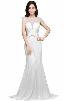 Chic Long Cap Mermaid Sleeve Sheer Jewel Ivory Evening Dresses_1