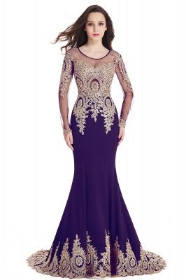 Elegant Lace Appliques Mermaid Prom Dresses | Sheer Neck Long Sleeves Evening Dresses BM0113_4