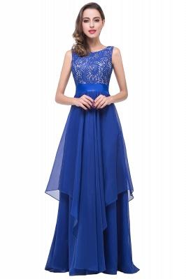 Sleeveless Appliques Lace Elegant Chiffon Long Evening Dress_3