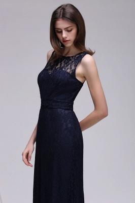 Lace Sleeveless Floor-Length Dark-Navy Sheath Evening Gowns_1