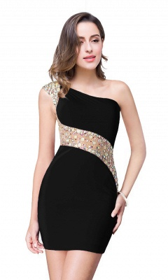 Sexy Mini Sheath Homecoming Dresses One Shoulder Beaded Cocktail Dresses_5