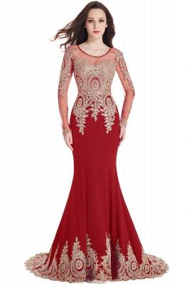 Elegant Lace Appliques Mermaid Prom Dresses | Sheer Neck Long Sleeves Evening Dresses BM0113_1