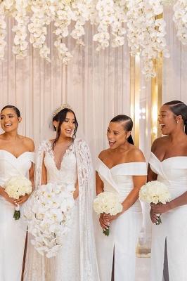 Sheath V-neck Charming Slit Off-the-shoulder Bridesmaid Dresses_3