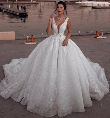 Glamorous Sleeveless Deep V-Neck Wedding Dress | Ball Gown Lace Bridal Gowns On Sale_1