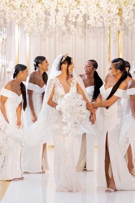 Sheath V-neck Charming Slit Off-the-shoulder Bridesmaid Dresses_2