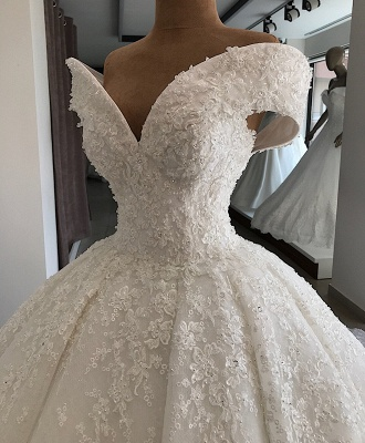 Appliques Ball-Gown Off-the-shoulder Elegant Wedding Dresses_2