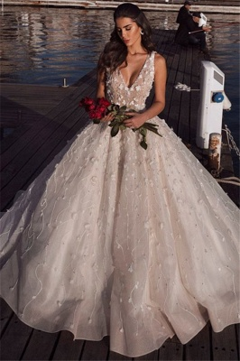 Elegant Sleeveless V-Neck Wedding Dress | Flowers Ball-Gown 2021 Bridal Gowns_3