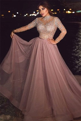 Crystal Beading Pink Long-sleeve A-line High-neck Prom Dress