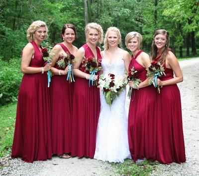 A-line Long Glamorous V-neck Convertible One-shoulder Garden Halter Bridesmaid Dresses_2