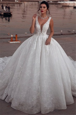 Glamorous Sleeveless Deep V-Neck Wedding Dress | Ball Gown Lace Bridal Gowns On Sale_2