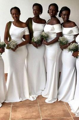 Off-the-shoulder Fashionable Sheath Bridesmaid Dresses_1