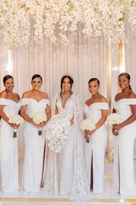Sheath V-neck Charming Slit Off-the-shoulder Bridesmaid Dresses_4