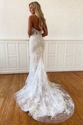 Sheath Beaded Unique Applique Sleeveless Halter Wedding Dress_2