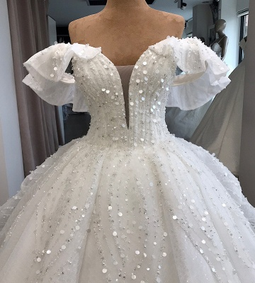 White Sequined Alluring Off-the-shoulder Beaded Ball-Gown Wedding Dresses_4