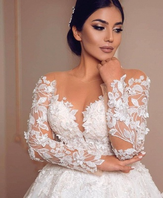 Royal Jewel Long Sleeve Floral Ball Gown Wedding Dresses | Sequin Puffy Bridal Gown_4