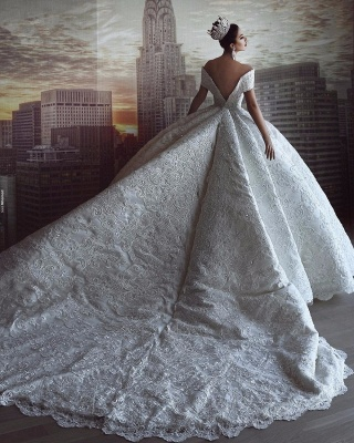 Luxury Off The Shoulder Sweetheart Applique Crystal Ball Gown Wedding Dresses | Puffy Wedding Gown_4