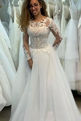 Elegant Bateau Long Sleeve Full Back Applique Pleated A Line Wedding Dresses_1