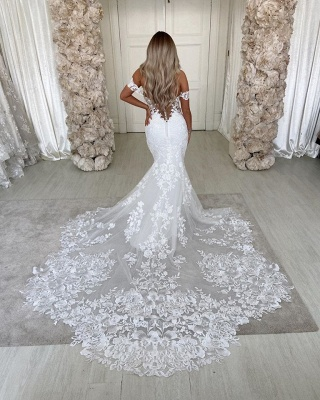Alluring Off The Shoulder Sweetheart Lace Fit And Flare Mermaid  Wedding Dresses_4