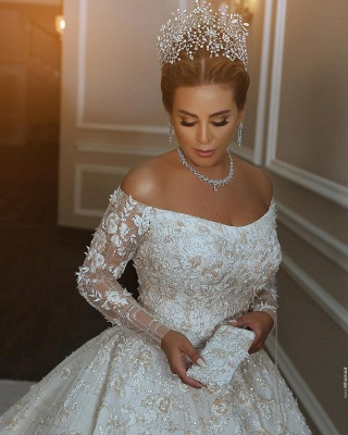 Luxury Off The Shoulder Long Sleeve Sequin Puffy Ball Gown Wedding Dresses | Sequin Floral Bridal Gown_3